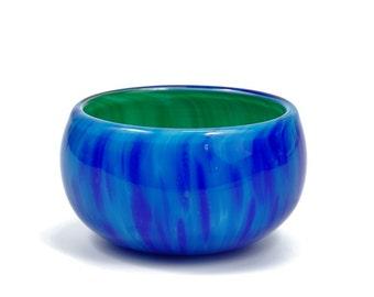 Aqua and Blues Glass Salt Bowl