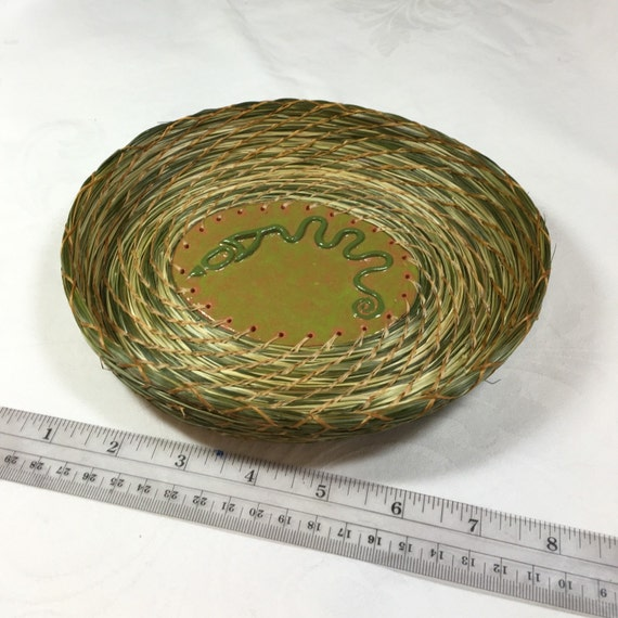 Native American style, coiled sweet grass basket, Serpent Mound, Ohio, handmade, clay basket center start, green, terra cotta, sacred plant
