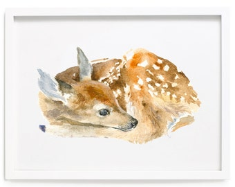 Deer Art Print of Watercolor Painting, Animal Giclee Print
