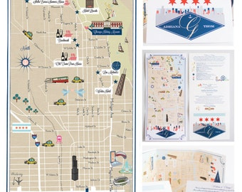 Wedding Map Inforgraphic with Itinerary (Save the Date) - (choose your location(s))