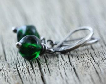 Emerald Green Dangle Earrings, Sterling Silver, Czech Beads Green Gift Present Jewelry Wife Friend Mom Girlfriend