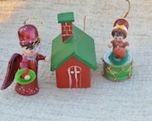 Wooden Christmas Ornaments Lot, Red and Green House, Red Angel, Drummer