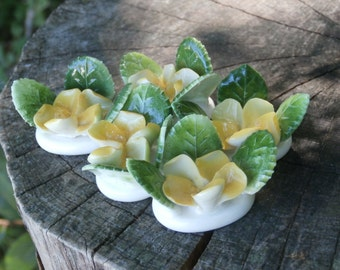 Pretty Vintage China Flower Place Card Holders, Yellow Flowers