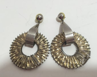 Large Vintage Earrings Drop Dangle Silver and Gold Round Huge Statement Earrings Designer Inspired 80s