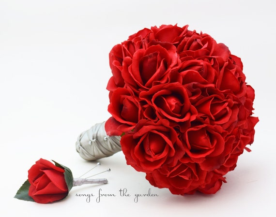Red Roses Bridal Bouquet Real Touch Bridal Bouquet Roses Groom's Boutonniere Red Grey Wedding Bouquet Boutonniere