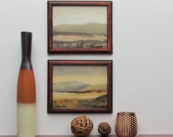 "wall art - ""English Mountain"" - warm coppertone/ buff -2 original acrylic paintings - home decor - framed artwork"