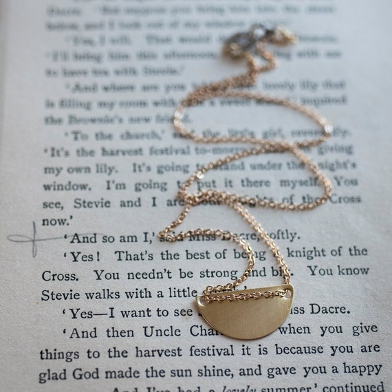 Brass Half Moon Necklace, boho jewelry, minimalist necklace, Give Collection, boho necklace, Simple necklace, Brass Necklace