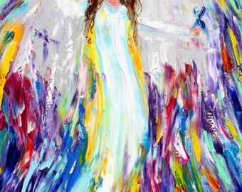 Original oil painting Angel and Butterflies 18x24 abstract palette knife impressionism on canvas fine art by Karen Tarlton