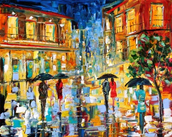 Fine Art Print New Orleans Rainy Glow made from image of past oil painting by Karen Tarlton