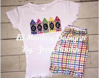 Back to School/First Day of School Girls Monogram Crayon Outfit- Kindergarten- First Day of School- First Grade- Crayon Box- Preschool