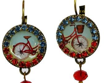 Bike Earrings - Bicycle Earrings - Crystal Earrings - Colorful Earrings - Circle Earrings - Statement Earrings - Crystal Jewelry
