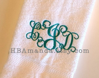 Scrolly Interlock SET OF 2 Monogram Script Hand Towels - Monogram #1 font - Monogram 3 initials Towels - Gift wrapping included