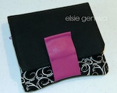 Black and White Swirls Magenta Leather Wallet with Coin Pocket Zipper