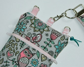 Owls & Musical Notes Phone Case with Wristlet - Optional Shoulder Strap - Belt Clip - Gray Pink Aqua - iPhone 5 6 Plus Note Floral Birds