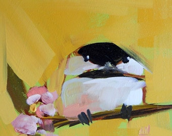 Chickadee no. 157 Art Print by Angela Moulton 5 x 5 inch