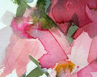 Pink Peonies no. 11 Original Floral Watercolor Painting by Angela Moulton 5 x 7 inch with 8 x 10 White Mat