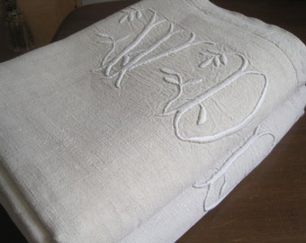 Beautiful antique French country linen sheet with large monogram WD, two available.  Great tablecloths, curtains or upholstery fabric.