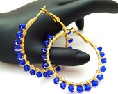 Royal Blue Gold Hoop Earrings, Wire Wrapped Beaded Hoops, Boho Jewelry Gift Idea for Girlfriend Best Friends Coworkers Birthdays Anniversary