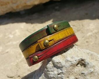 Rasta Leather Bracelet Cuff,Leather Wristband,Rastafarian Cuff,Leather Armband,Red,Yellow,Green Bracelet by Ishaor