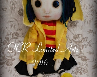 Coraline Button Eye Doll Inspired  Creepy cute OOAK Handmade Art doll cloth doll collectible Gothic doll decor gift rag doll