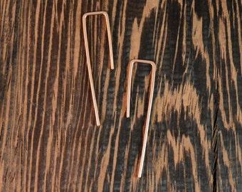 Thread Earrings - 14k Rose Gold Fill  - 18 gauge