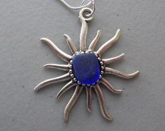Sun Pendant, Sun Necklace, Sun Sea Glass Jewelry, Beach Glass Jewelry, Blue Jewelry, Sun Rays Pendant, Gift for Her, Pendant