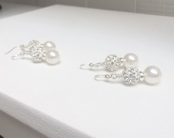 Sterling silver earrings~ Wedding Sparkly ball earrings ~ Crystal earrings ~Bridal Earrings~ Bridesmaids earrings ~Silver Earrings