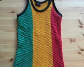Vtg Rasta Red Gold Green Mesh Tank Top