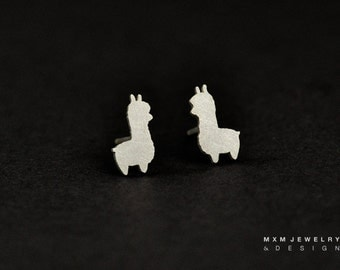 Sterling Silver Little Llama / Alpaca  Stud Earrings