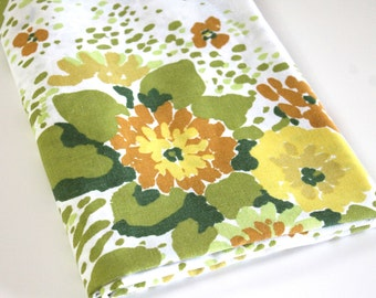 Vintage Sheet Fabric reclaimed bed sheet bed linen fabric retro abstract floral mint avocado green mustard brown gold decor quilting fabric