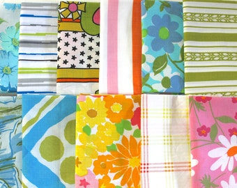 Vintage Reclaimed Fabric Fat Quarter Bundle 11 retro Bright Striped Floral vintage reclaimed bed sheet bed linen funky daisy quilting fabric