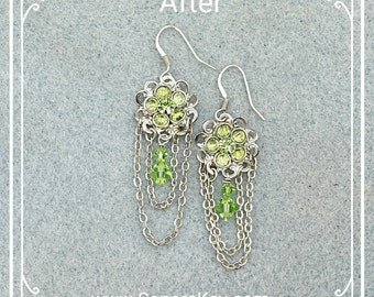 Filigree Daisy Earrings embellished with Peridot green Swarovski Crystals