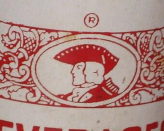 Antique Pop Bottle Soda Old Colony Beverages 1950s 8 oz Duraglas Minute Man Graphics Red White Old Glass Bottle