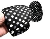 Oven Mitt Potholders | Black with Gray Dots Oven Mitts | Black Dot.com Hot Pad Mitt Set | Best Oval Pot Holder Pair | Black & Grey Potholder