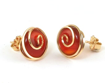 Red Carnelian Gold Stud Spiral Earrings, Unique Wire Wrapped Red Button Earrings