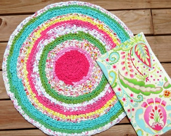 "rag rug, girl bedding, ""braided"" rug, kumari garden, baby girl bedding, ruffle bedding, kumari bedding, Lilly Pulizer bedding"