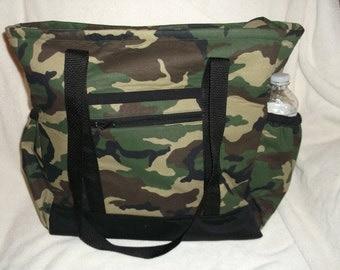 Camouflage Tote Bag, Diaper Bag, Carry-On Bag, Book Bag
