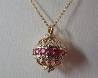 14K Gold Diamond & Red Spinel  Lantern or Ball Shaped Pendant Necklace Signed Meda