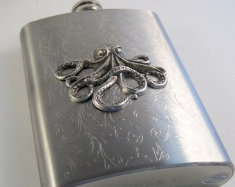 Butterfly Flask,Octopus Accessories,Nautical Flask,Butterfly,Flask,Hip Flask,Liquor Flask,STainless STeel,5 oz,Vintage Flask,Victorian Flask