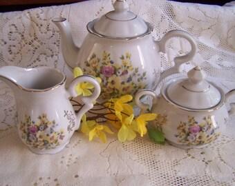 Vintage Porcelain Teapot, Cream, Sugar, China Tea Set, Japan Tea Party, Cottage Chic, Shabby Decor