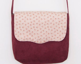 Burgundy Red Suede and Cotton Print Messenger Bag