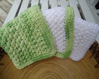 Set of Three Handmade Washcloths or Dishcloths in Shades of Green and White