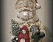 Santa Claus - papier mache - folk art - Little Red Riding Hood toys - Christmas