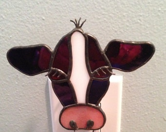 Stained Glass Cow Night Light