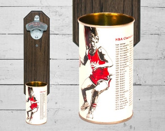 Sports Gift Wall Mounted Bottle Opener with Vintage Iron City Basketball Beer Can Cap Catcher - Groomsmen Gift For Guy