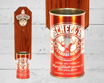 Schell's Wall Mounted Bottle Opener with Vintage Grand Old Beer Can Cap Catcher - Best Man Gift