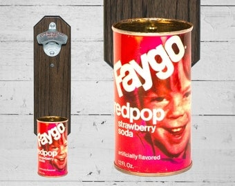 Faygo Redpop Strawberry Soda Wall Mounted Bottle Opener with Vintage Soda Pop Can Cap Catcher