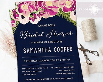 Navy Bridal Shower Invitation, Floral Invitation, Bridal Shower, Bridal Brunch, Bridal Tea Invite, Elegant Invitation, jadorepaperie