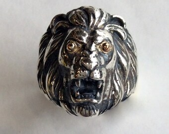 Silver Gold Lion Ring, oxidized lion ring, chunky ring, statement ring, large, men ring, unisex ring, two tones ring - Good times  R2144