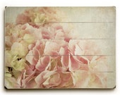 Wood Wall Art, Pink Hydrangeas on Wood, Flower Art on Wood, Wood Plank Art, Wood Plank Sign, Country Cottage Decor, Rustic Cottage Sign